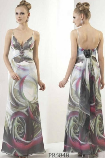 Rochie de seara lunga cu imprimeu
