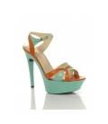 Sandale cu platforma verde/portocaliu