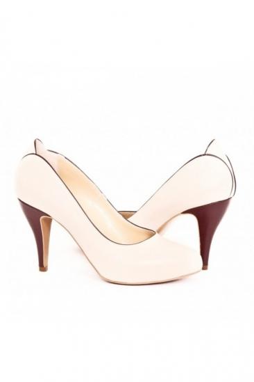 Pantofi piele bej/marsala