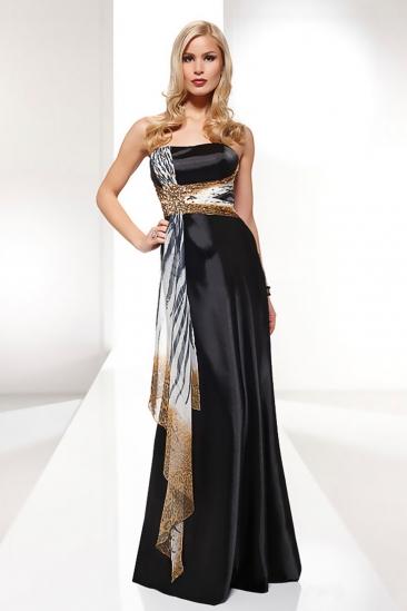 Rochie de seara neagra & animal print Luxuar