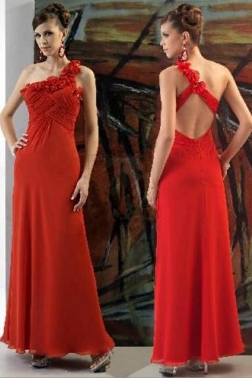 Rochie rosie lunga asimetrica