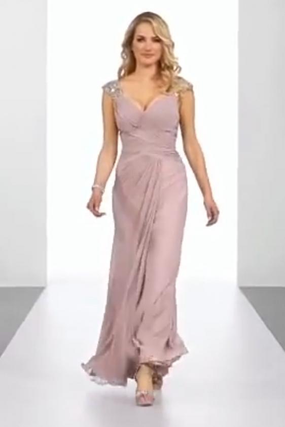 Rochie lunga de seara violet pudrat
